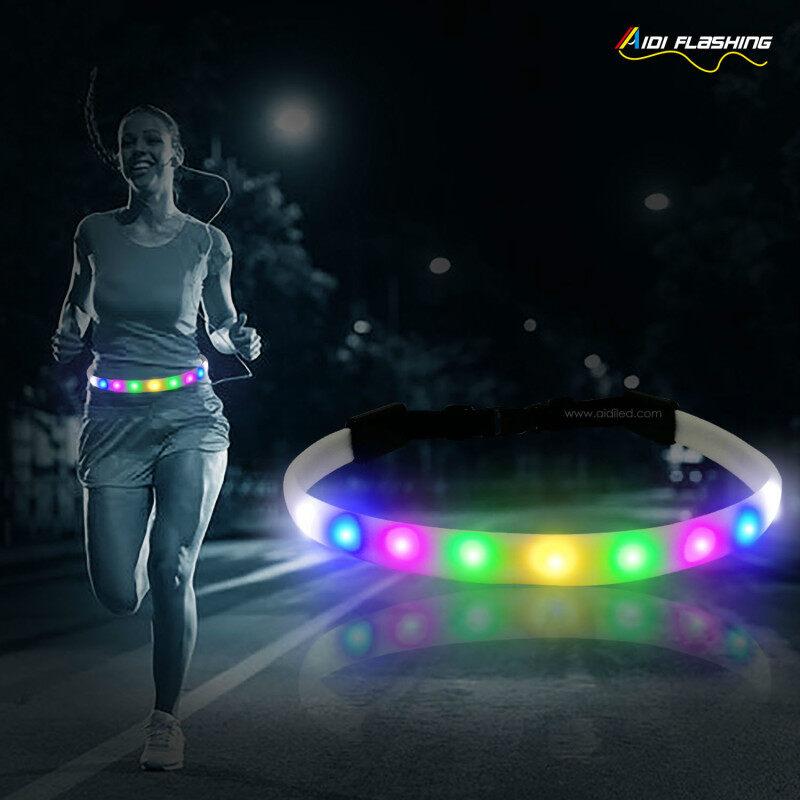 Hot Sale Promotional Product Custom Reflective Led Sport Waist Bag Flashing Elastic Running Belt