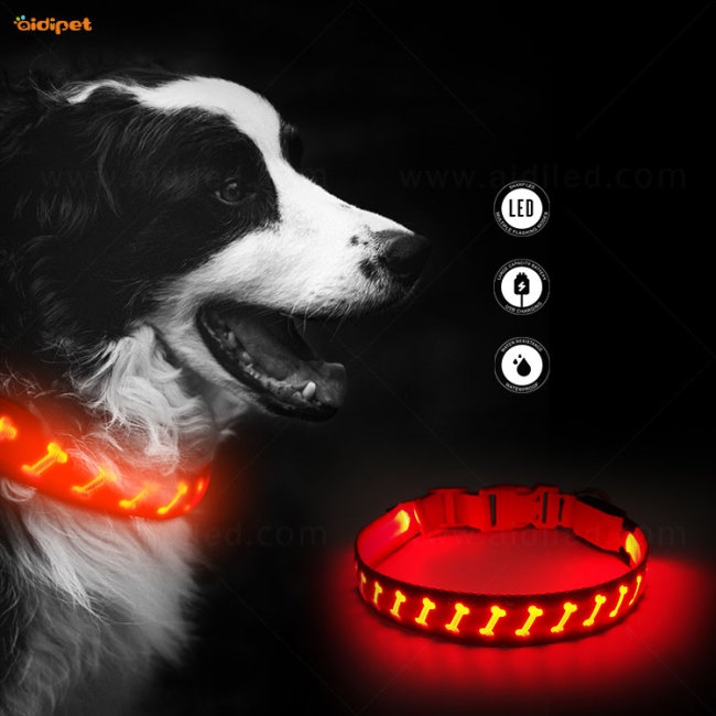 Rechargeable Dog Collar for Night Safety Light UP Pet Collar Necklace Led Collar De Perro