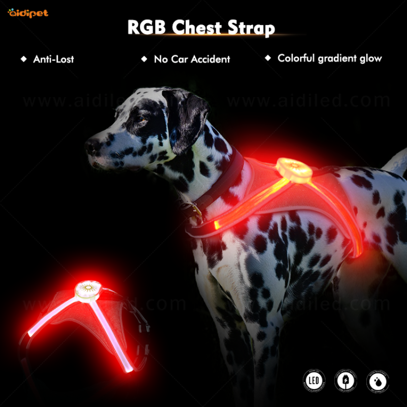 RGB Light Up Dog Harness for Pet Safety Multi-color Pet Harness Vest USB Rechargeable Harness