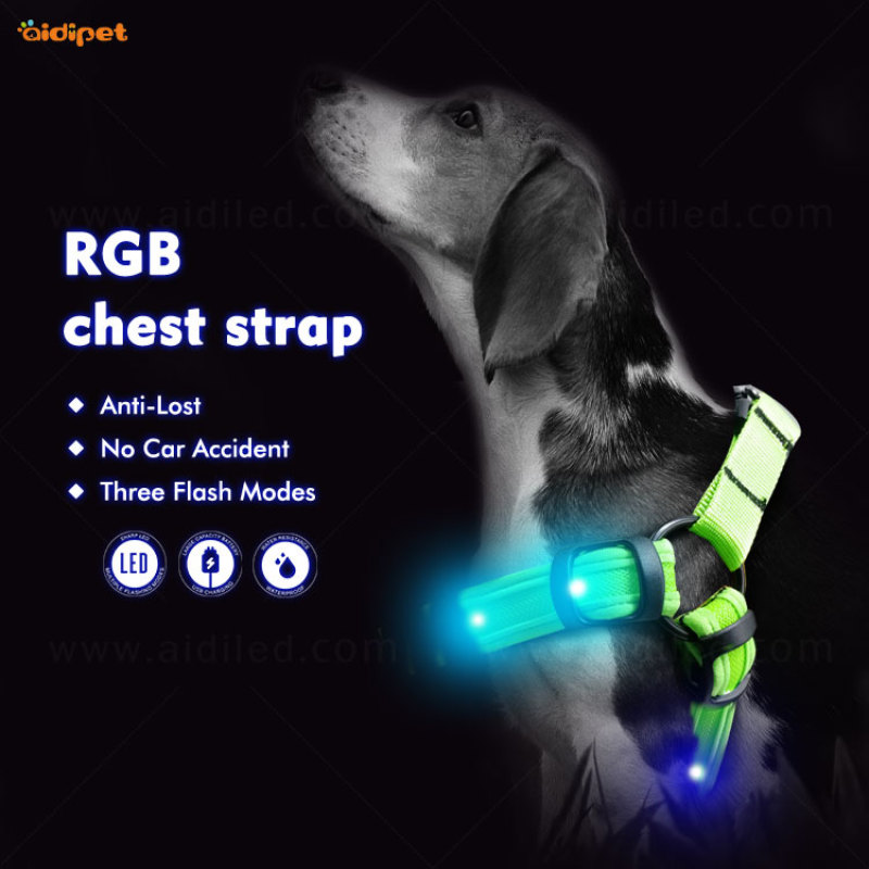 Luxury Light up Fog Harness Vest RGB Colorful Rechargeable Dog Harness Vest 2021 Hot Selling Dog Harness