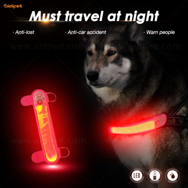 2021 Dog Accessories Light Up Collar Cover Spandex Attachable Led Pet Collar and Leash Cover Light