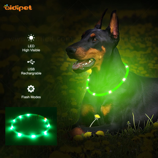 Cuttable Led Dog Collar USB Rechargeable Light Up Silicone Dog Collar Flashing At Night