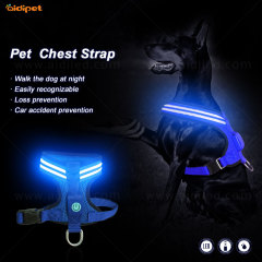 Correa para perros al por mayor Collar para mascotas Parpadeante Led Light Up Chaleco de arnés para perros Arnés personalizado para exteriores para perros