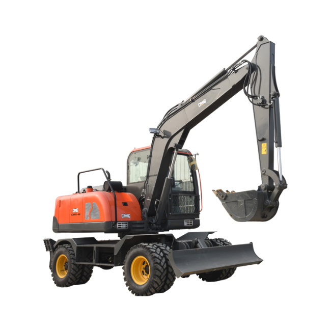 China hot sale earthing moving machine 8.5ton mini wheel excavator digger with cheap price
