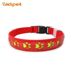 Hollow Paw Pattern Led Flashing Dog Collar PU leather Rechargeable Pet Collar LED