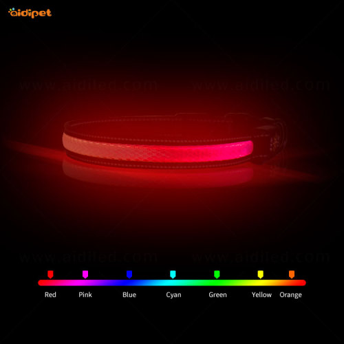 White Dog Collar with RGB Colorful Multiple Color Light  Flashing Pet Collar Amazon Hot Sell Dog Collars