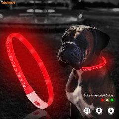 USB Rechargeable with Water Resistant Flashing Light Collar Pet App Controlled Scrolling aidiflashing