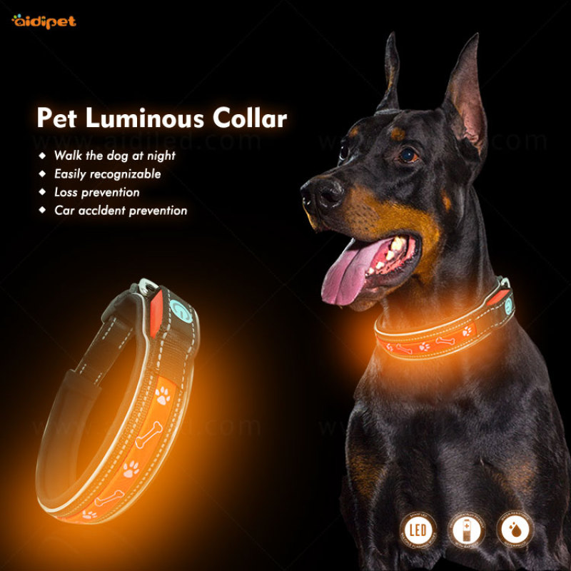 Wholesale Custom New Pet Collar Accessories for Dogs and Cats Anti-lost LED Light Dog Tag