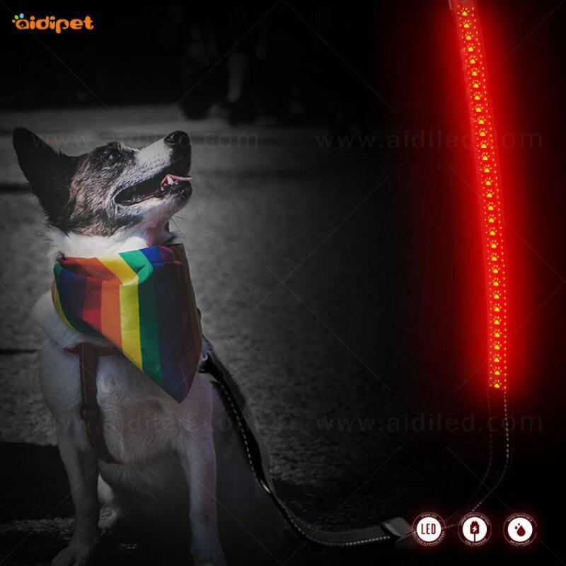 Rope Leash Wholesale Lightweight Durable Training Retractable Nylon Rope led dog leash