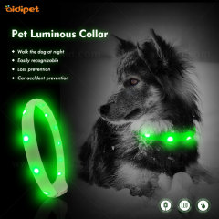 USB Rechargeable Waterproof Led Dog Collar Light in Dark ECO-Silicone Collar for Dogs