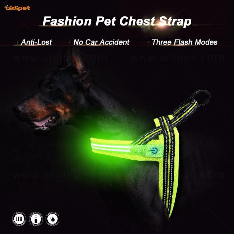 Manufacturer Wholesale Outdoor Nylon Adjustable Dog Harness Led Light  Harness Vest Light up for Dogs