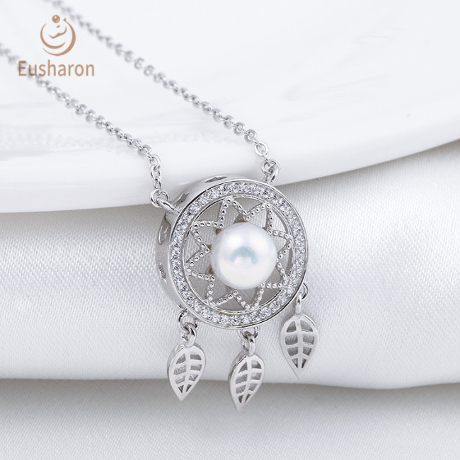 Wind Chimes Sterling Silver Freshwater Pearl Dream Catcher Necklace