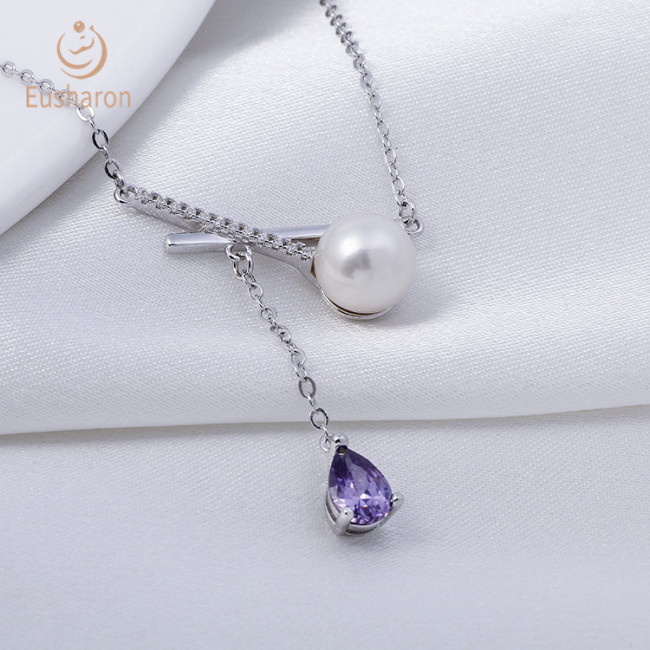 Bow Gemstone Pendant Sterling Silver Pearl Necklace