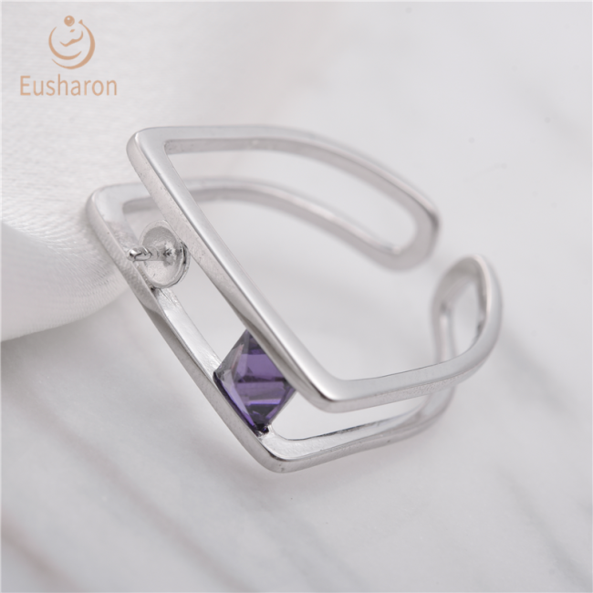 Amethyst Geometric Sterling Silver Pearl Ring Mount