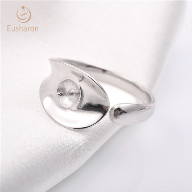 One leaf Sterling Silver Pearl Ring Mount