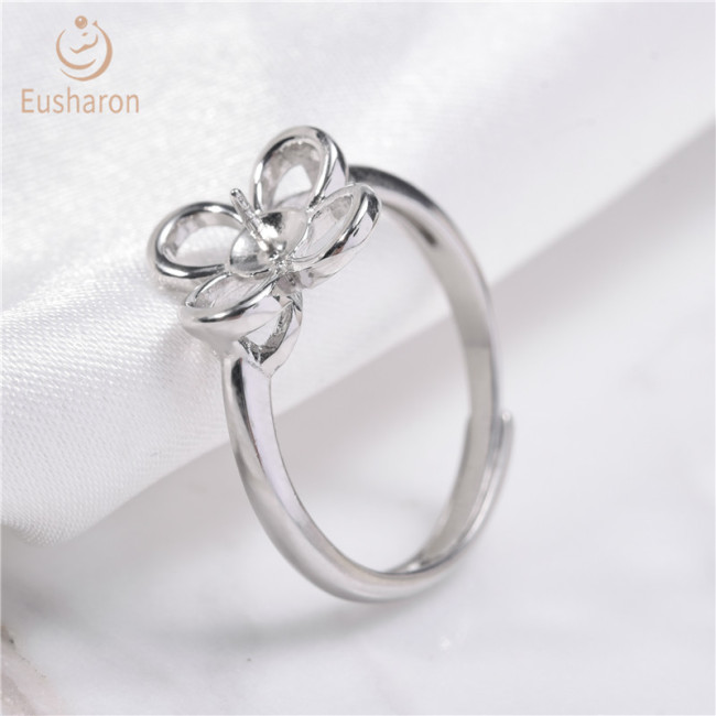 Daisy Flower Sterling Silver Pearl Ring Mount