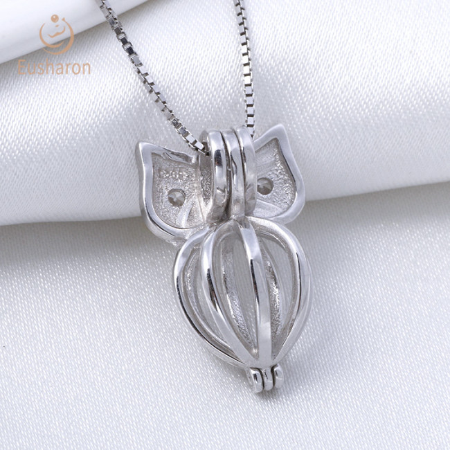 Halloween Owl sterling silver cage pendant