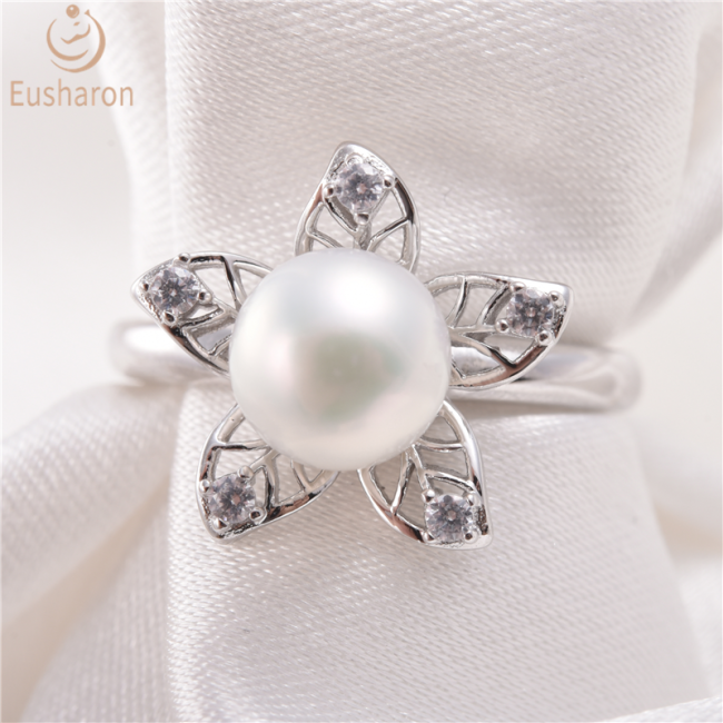 Cherry Blossoms Flower Sterling Silver Pearl Ring Mount
