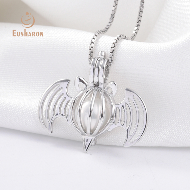 Halloween Bat Sterling Silver Pearl Cage Pendant