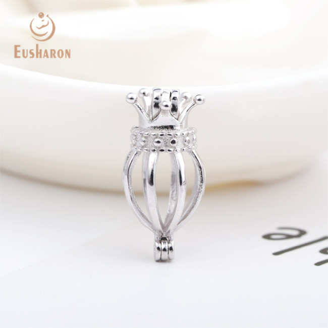 Crown Basic Heart Pumpkin Sterling Silver Cage Pendant