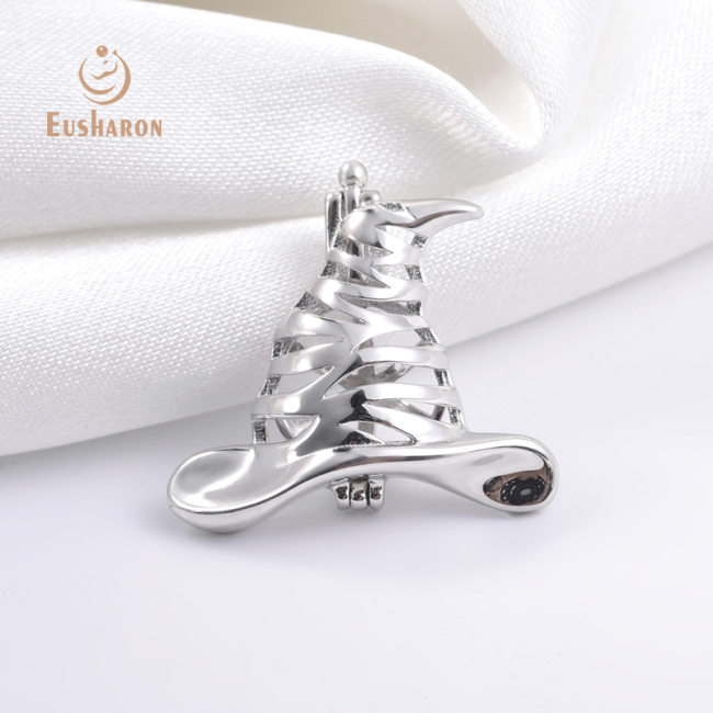 Halloween Witch Hat Sterling Silver Pearl Cage Pendant