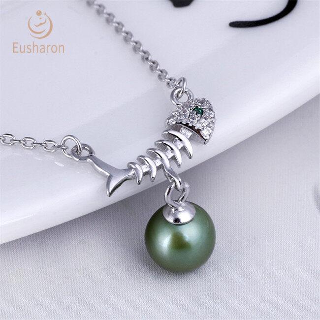 Green Eye Fish Bone Sterling Silver Pearl Mount Pendant Necklace