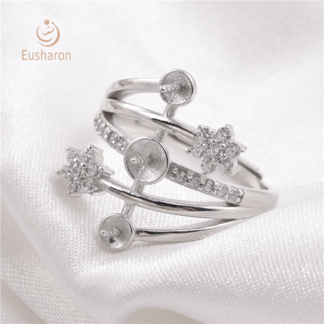 Diamond Snowflake Sterling Silver Pearl Ring Mount