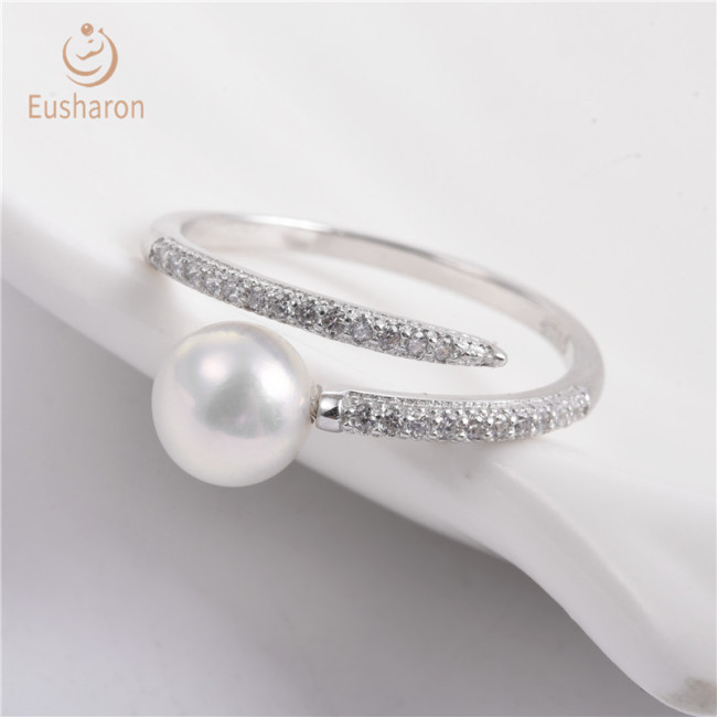 Row drill Sterling Silver Pearl Ring Mount