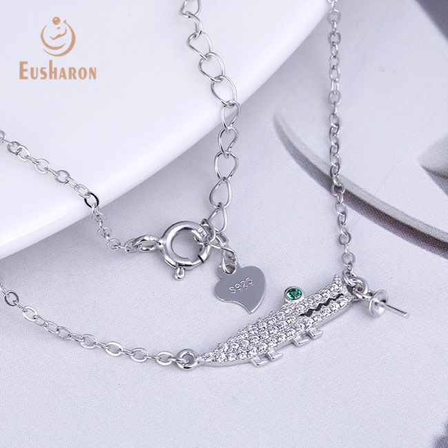 Green Eye Alligator Sterling Silver Pearl Mount Pendant Necklace