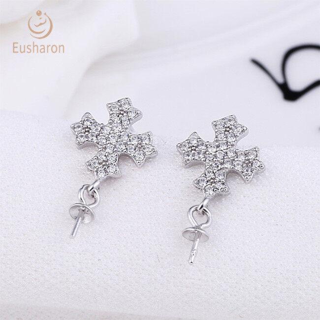 Cross pendant Sterling Silver Pearl Drop Earring