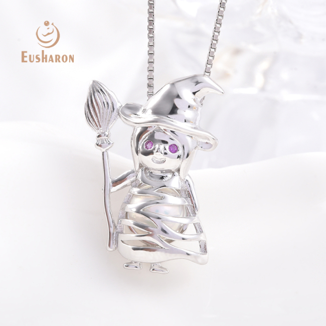 Halloween Witch Sterling Silver Pearl Cage Pendant