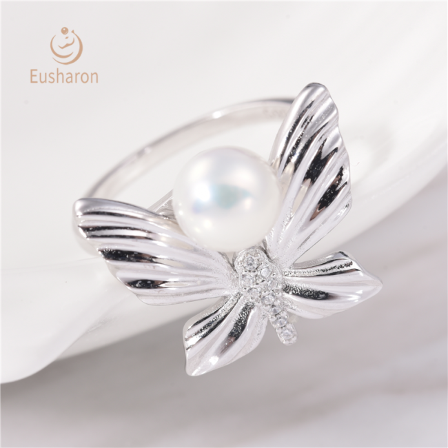 Butterfly Sterling Silver Pearl Ring Mount