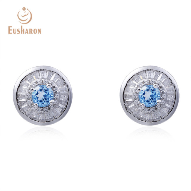 S925 Natural 0.4ct Swiss Blue Topaz Round Stud Earrings