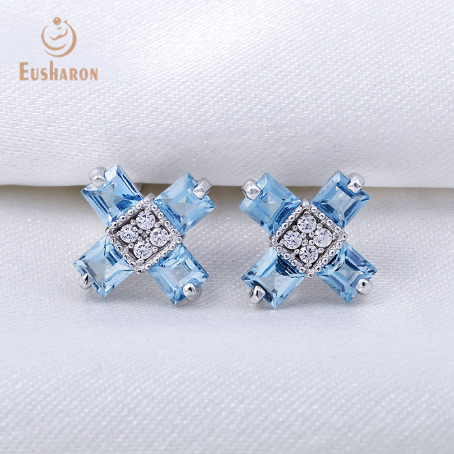 S925 Natural 1.6ct Swiss Blue Topaz Cross Stud Earrings