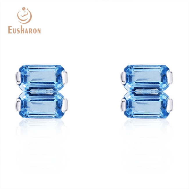 S925 Natural 1.6ct Swiss Blue Topaz Rectangle Stud Earrings