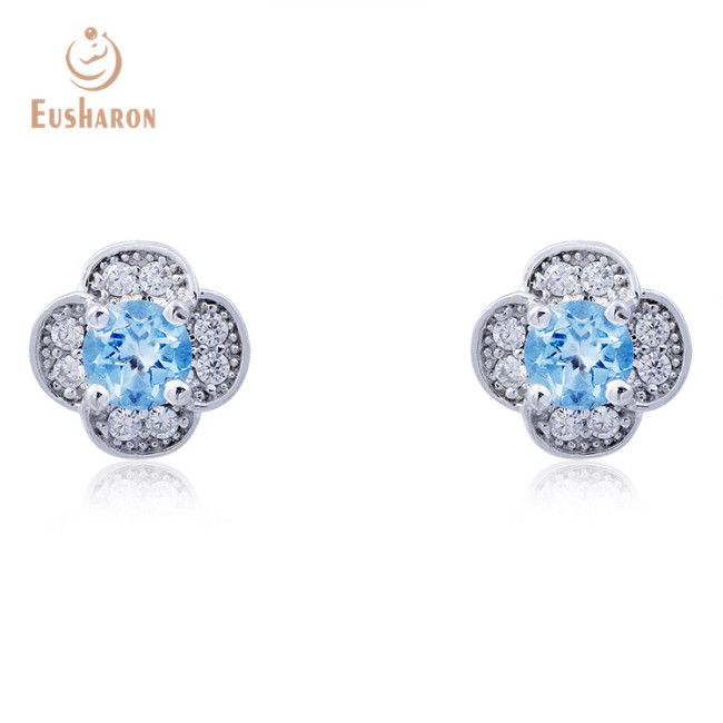 S925 Natural 0.4ct Swiss Blue Topaz Flower Stud Earrings