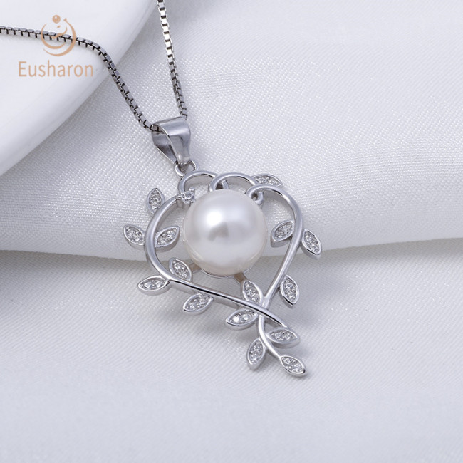 Heart-shaped Branches Winding Sterling Silver Pearl Mount Pendant