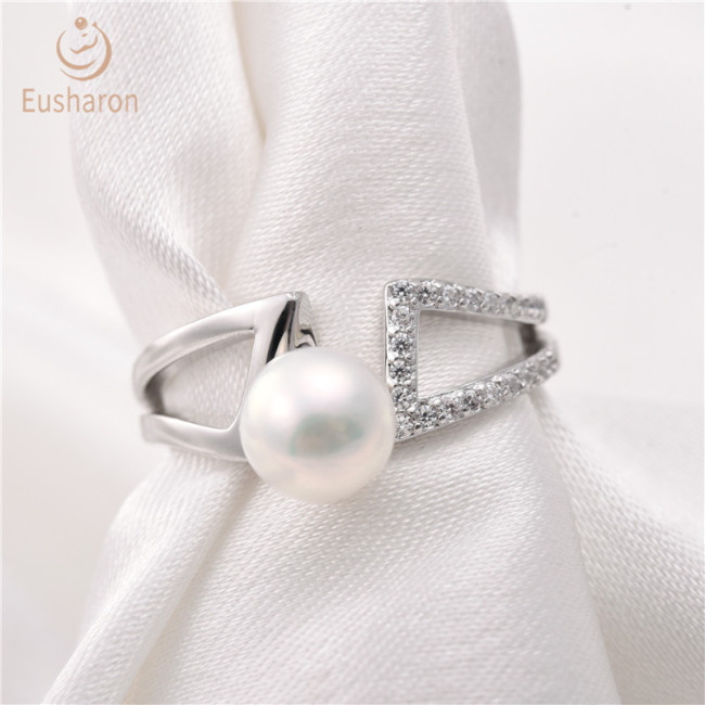 Geometric H Sterling Silver Pearl Ring Mount
