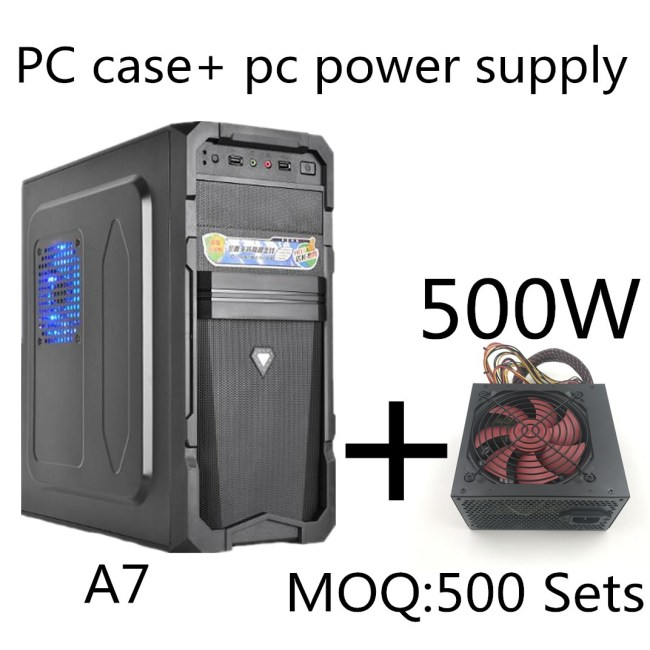 Desktop Computer Mainframe A7 ATX Game Empty Computer Case+500W power supply