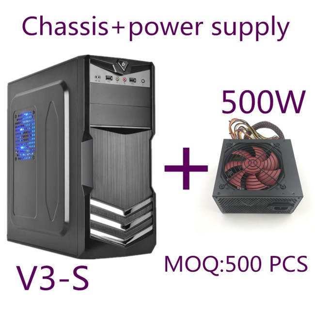 New Design Tower Shining Silver ATX Computer Case+500W power supply