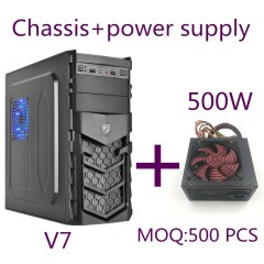 V7 Shield Panel Designed Casing with a Full Tower ATX PC Case+500W power supply