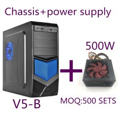 V5 Blue New Design Tower ATX Computer Gaming Case+500W power supply