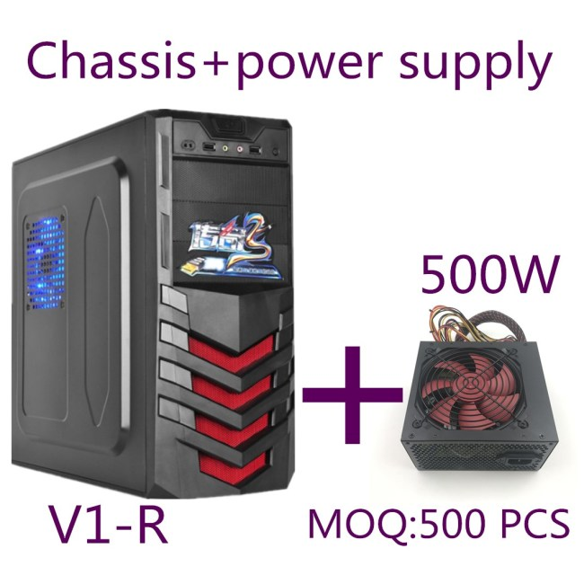 Shield-Type Panel New Designcomputer Case Full Tower ATX PC Case+500W power supply