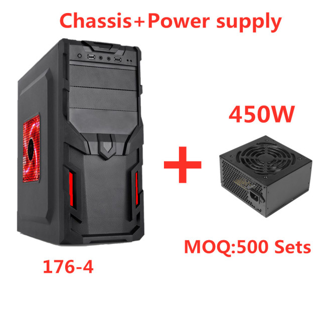 Shield-Type Panel New Design computer Gaming Case ATX PC Case+450W power supply