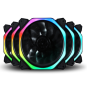 Rubik's Cube Multicolored Chassis Cooling Fan 12cmled Chassis Air Cooling Fan