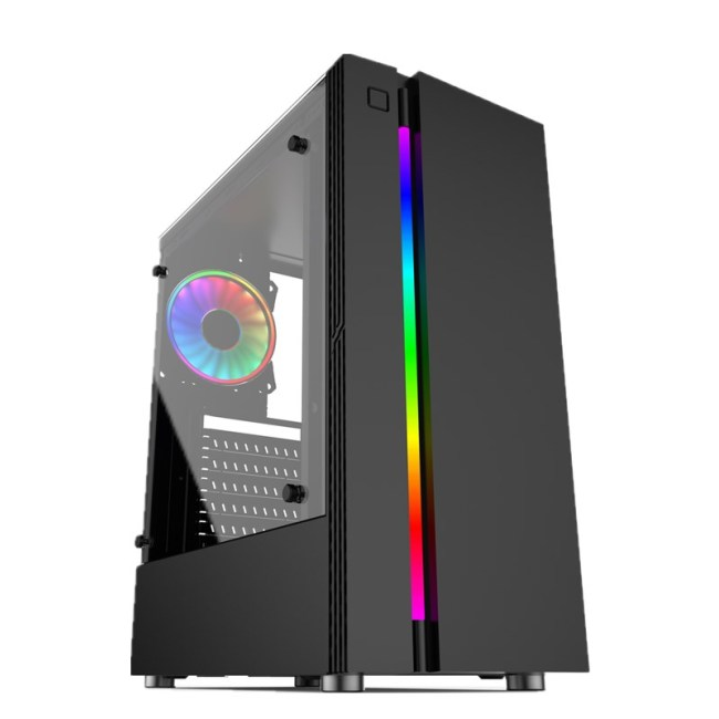 Streamer Rainbow Design Desktop Chassis USB3.0 Black Computer Case