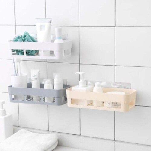 Punch-free Wall Hanging Bathroom Shelf Adhesive Storage Rack Corner Shower Shelf Kitchen Home Decoration Bathroom Accessories