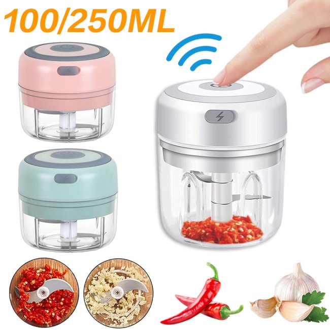 100ml Electric Garlic Masher Mini USB Charging Vegetable Chili Meat Garlic Press Grinder Crusher Food Chopper Kitchen Tools