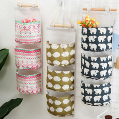 Cute Wall Sundry Cotton Line Hanging Organizer Bag Multi-layer Holder Makeup Rack Jewelry Storage Box Basket Home Decoration