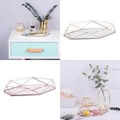 Three-dimensional Wrought Iron Storage Tray Nordic Minimalist Rose Gold Mirror Bottom Hexagonal Tray Home Decoration